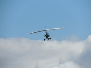 Microlight coming into land