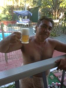 Tui drinking Gav's Beer