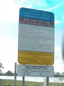 Ulmarra Ferry Sign